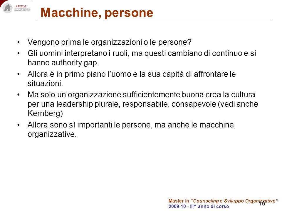Master in Counseling e Sviluppo Organizzativo 2009-10 - III^ anno di corso 16 Macchine, persone Vengono prima le organizzazioni o le persone.