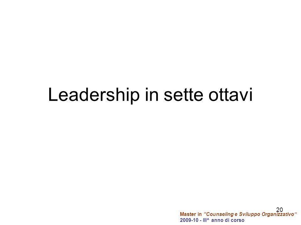 Master in Counseling e Sviluppo Organizzativo 2009-10 - III^ anno di corso Leadership in sette ottavi 20
