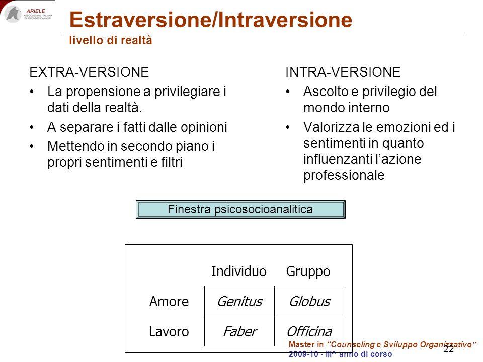 Master in Counseling e Sviluppo Organizzativo 2009-10 - III^ anno di corso Estraversione/Intraversione livello di realtà EXTRA-VERSIONE La propensione a privilegiare i dati della realtà.