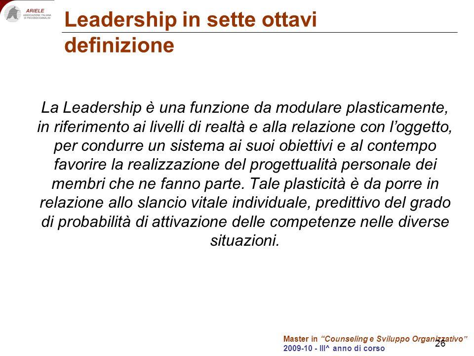 Master in Counseling e Sviluppo Organizzativo 2009-10 - III^ anno di corso 26 Leadership in sette ottavi definizione La Leadership è una funzione da m