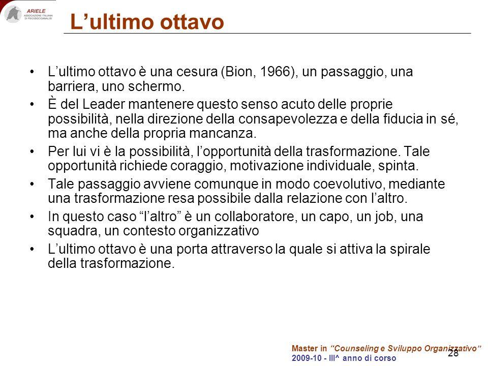 Master in Counseling e Sviluppo Organizzativo 2009-10 - III^ anno di corso 28 Lultimo ottavo Lultimo ottavo è una cesura (Bion, 1966), un passaggio, una barriera, uno schermo.
