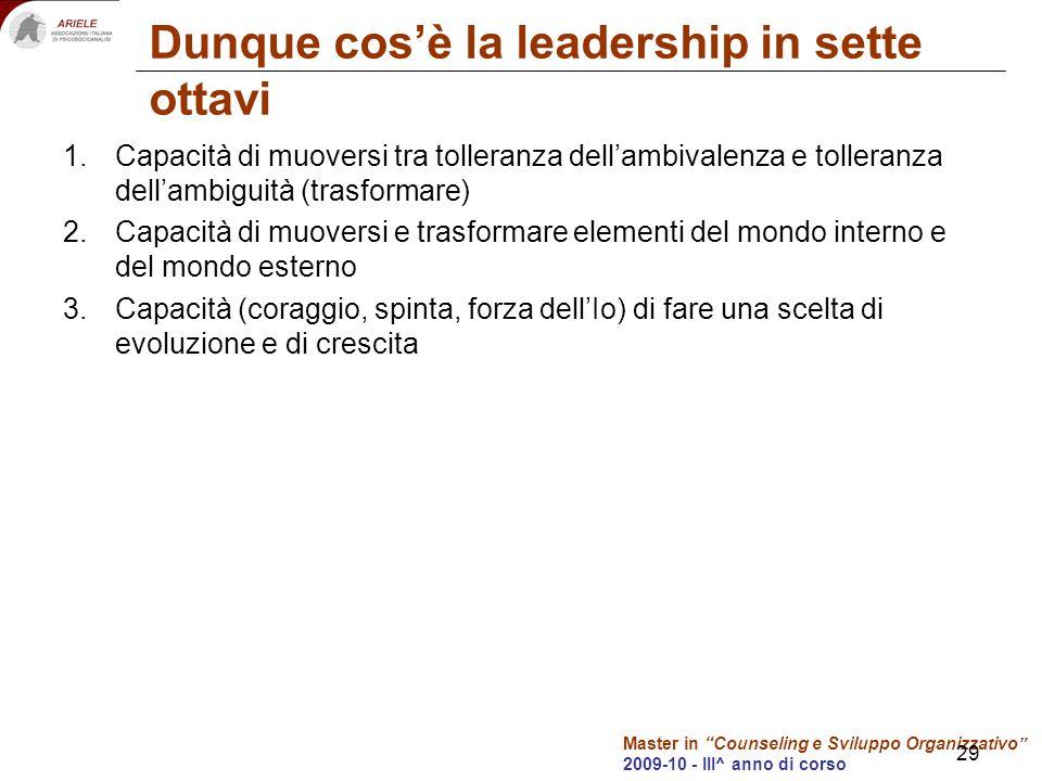 Master in Counseling e Sviluppo Organizzativo 2009-10 - III^ anno di corso 29 Dunque cosè la leadership in sette ottavi 1.Capacità di muoversi tra tol
