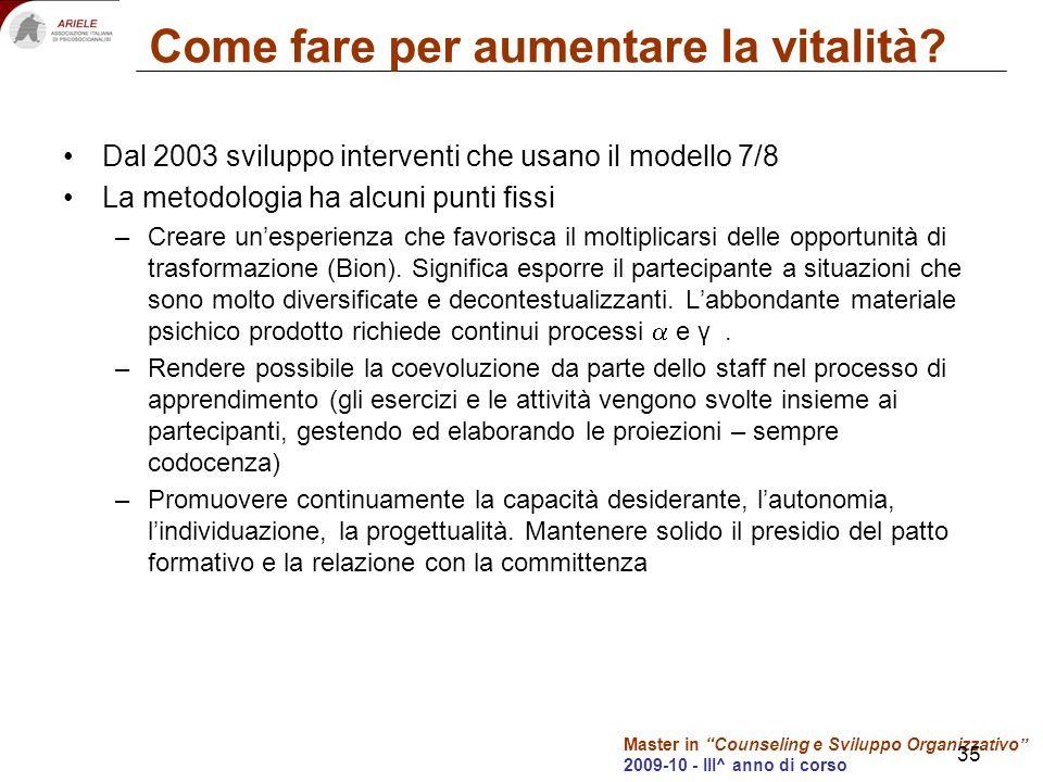 Master in Counseling e Sviluppo Organizzativo 2009-10 - III^ anno di corso 35 Come fare per aumentare la vitalità? Dal 2003 sviluppo interventi che us