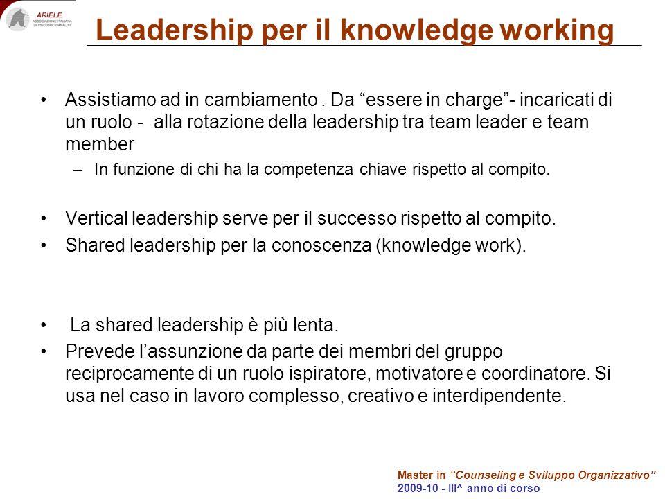 Master in Counseling e Sviluppo Organizzativo 2009-10 - III^ anno di corso Leadership per il knowledge working Assistiamo ad in cambiamento.
