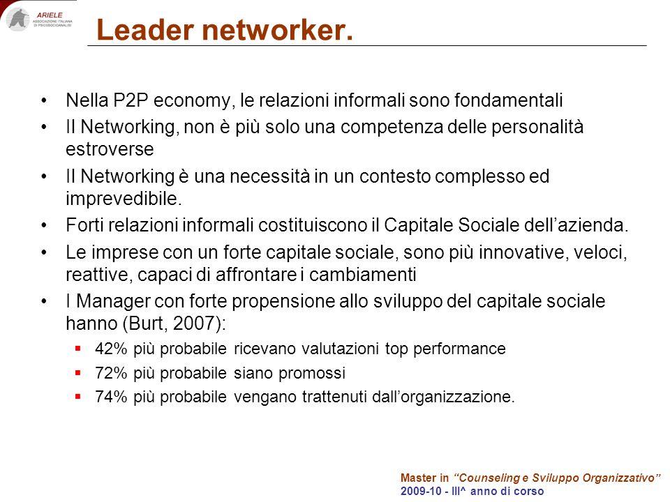 Master in Counseling e Sviluppo Organizzativo 2009-10 - III^ anno di corso Leader networker. Nella P2P economy, le relazioni informali sono fondamenta