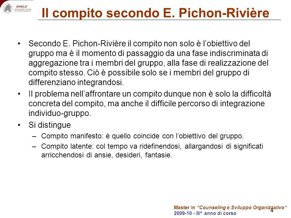 Master in Counseling e Sviluppo Organizzativo 2009-10 - III^ anno di corso 4 Il compito secondo E. Pichon-Rivière Secondo E. Pichon-Rivière il compito