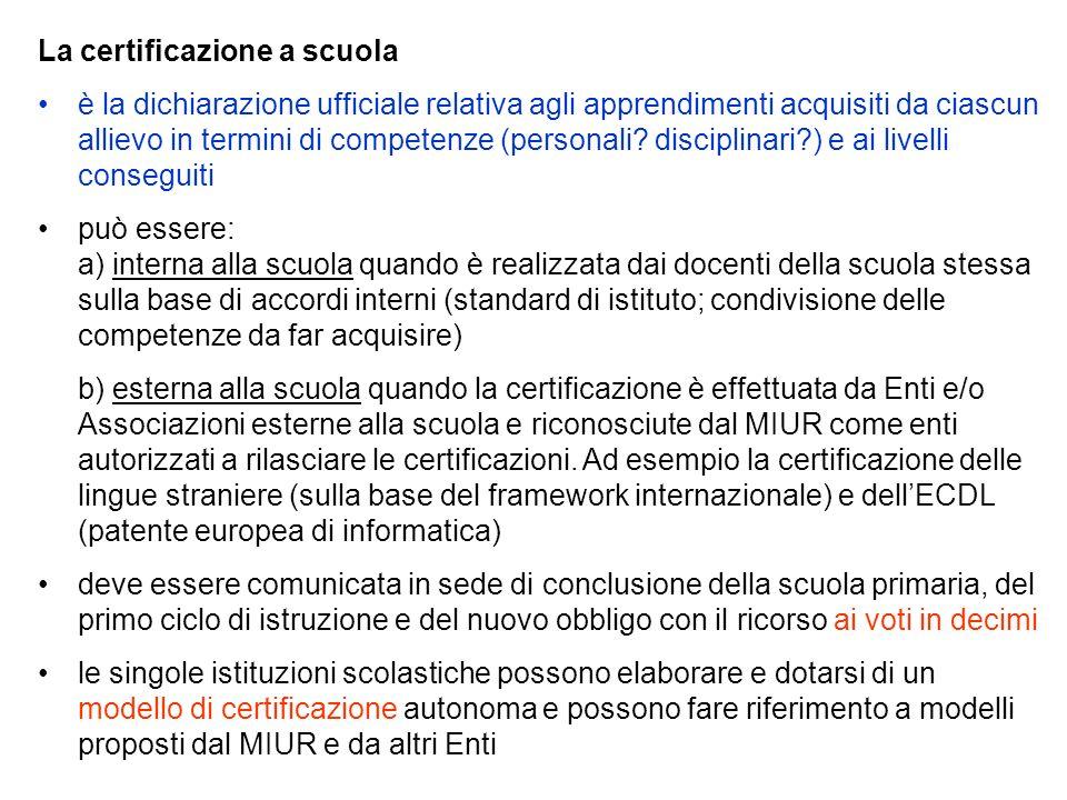 La certificazione a scuola è la dichiarazione ufficiale relativa agli apprendimenti acquisiti da ciascun allievo in termini di competenze (personali?