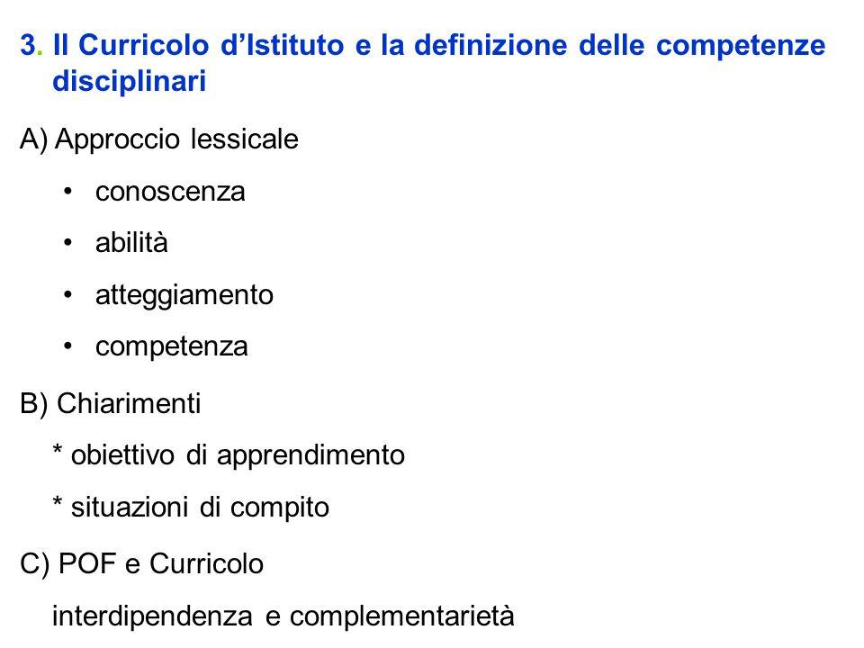 3. Il Curricolo dIstituto e la definizione delle competenze disciplinari A) Approccio lessicale conoscenza abilità atteggiamento competenza B) Chiarim