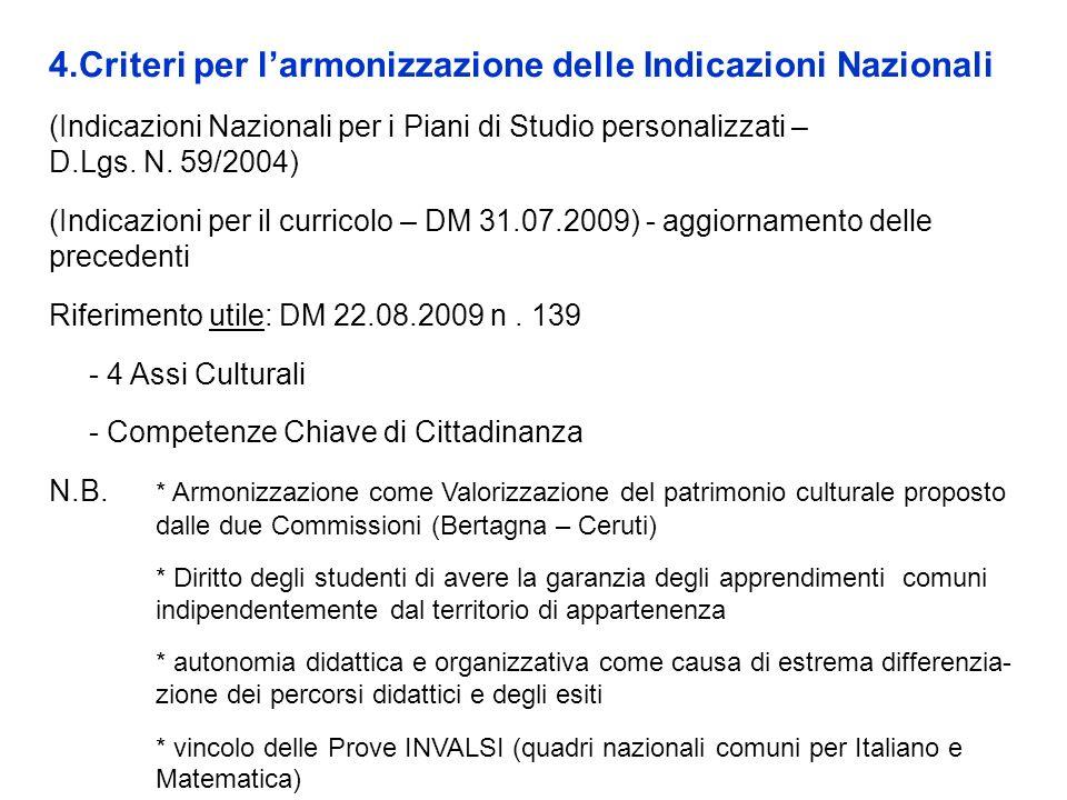 4.Criteri per larmonizzazione delle Indicazioni Nazionali (Indicazioni Nazionali per i Piani di Studio personalizzati – D.Lgs. N. 59/2004) (Indicazion