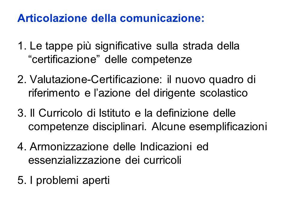 Articolazione della comunicazione: 1. Le tappe più significative sulla strada della certificazione delle competenze 2. Valutazione-Certificazione: il