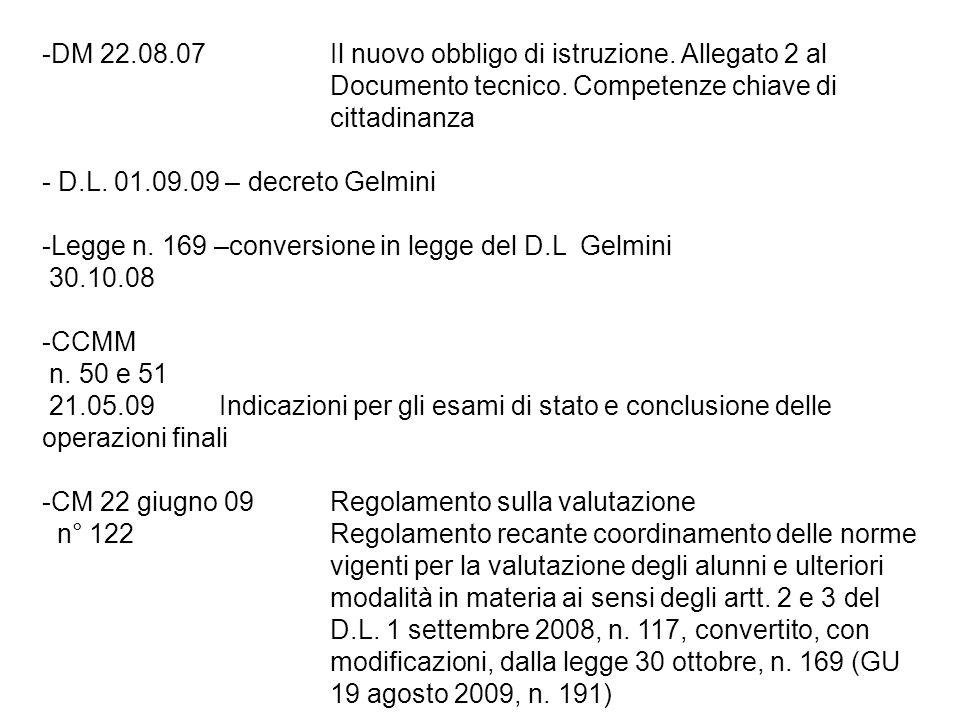 -DM 22.08.07Il nuovo obbligo di istruzione. Allegato 2 al Documento tecnico. Competenze chiave di cittadinanza - D.L. 01.09.09 – decreto Gelmini -Legg