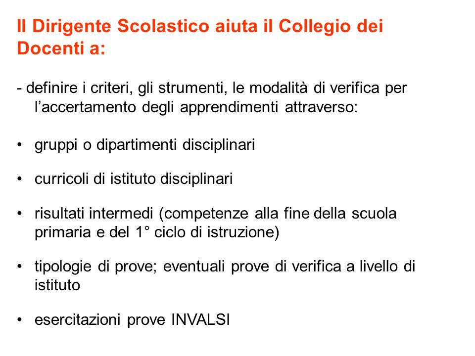 Il Dirigente Scolastico aiuta il Collegio dei Docenti a: - definire i criteri, gli strumenti, le modalità di verifica per laccertamento degli apprendi