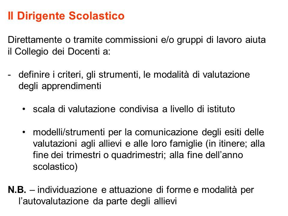 Il Dirigente Scolastico Direttamente o tramite commissioni e/o gruppi di lavoro aiuta il Collegio dei Docenti a: -definire i criteri, gli strumenti, l