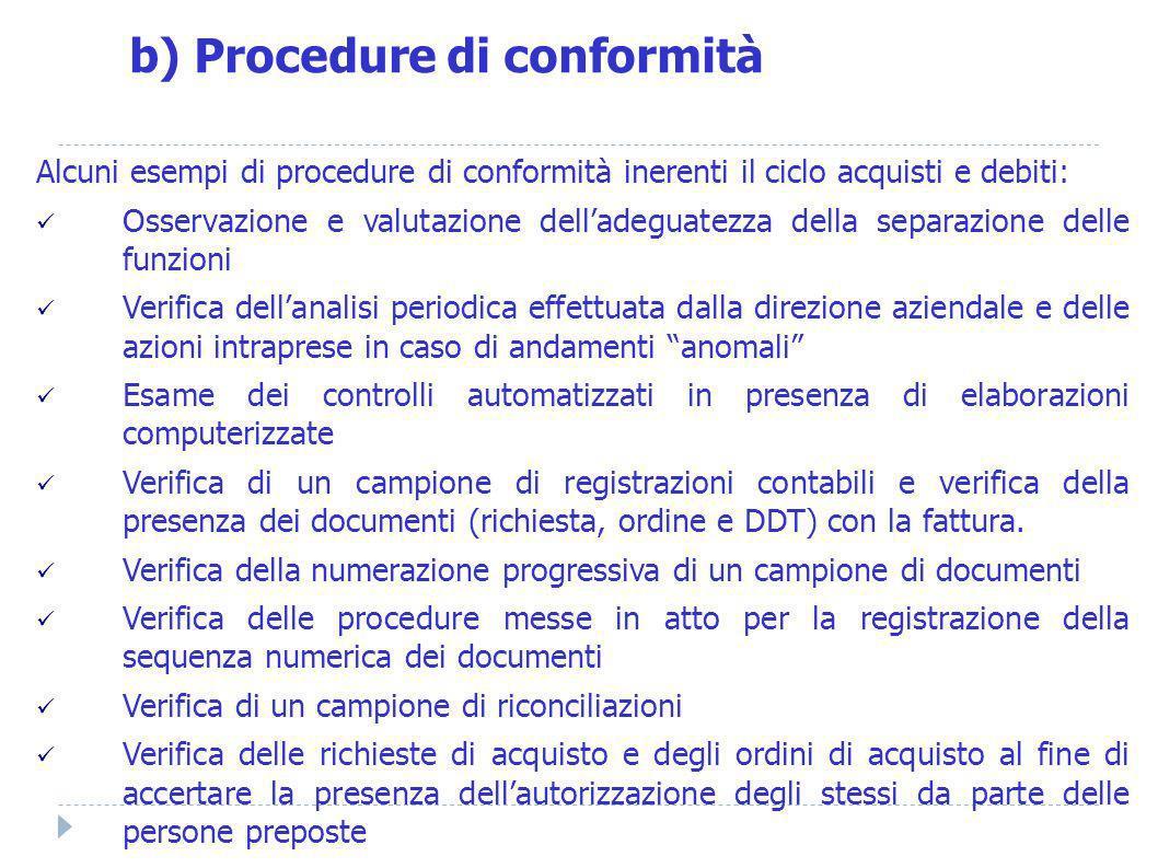 Alcuni esempi di procedure di conformità inerenti il ciclo acquisti e debiti: Osservazione e valutazione delladeguatezza della separazione delle funzi