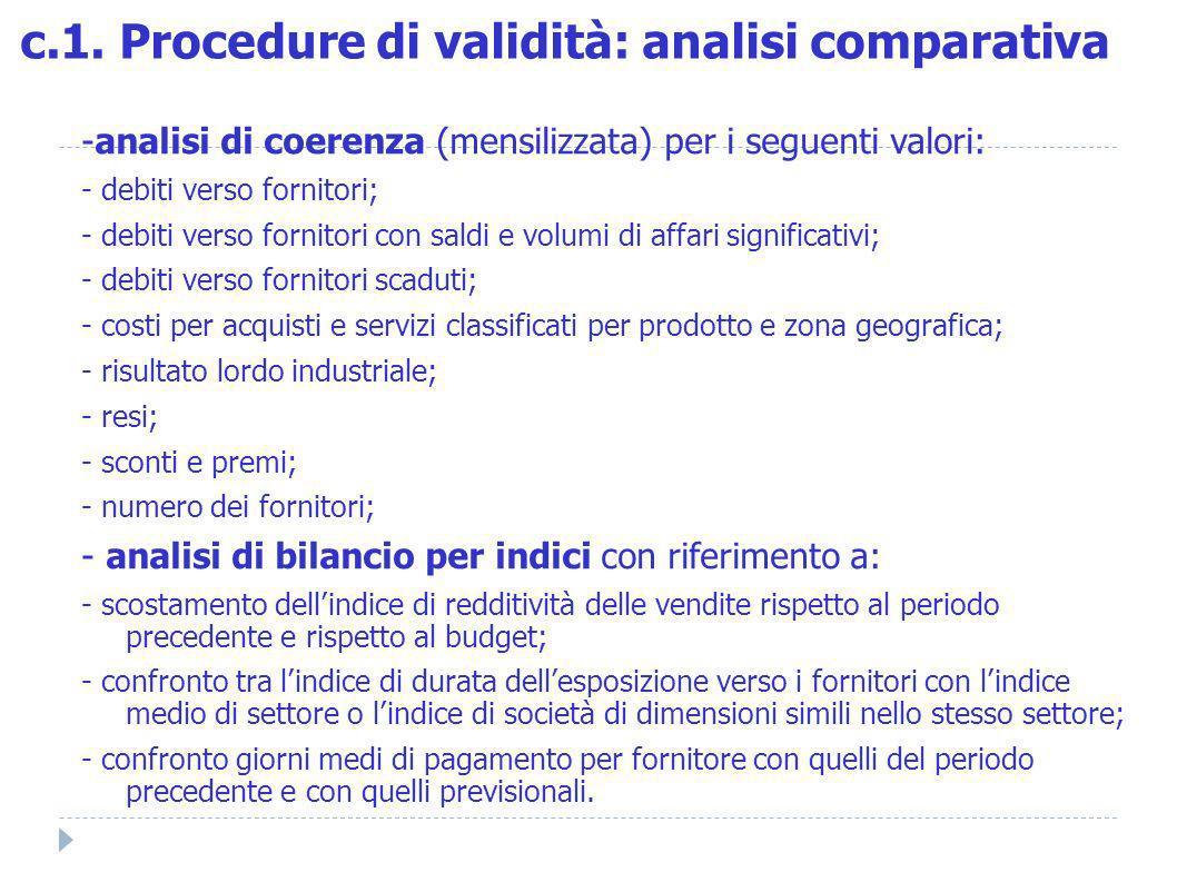 -analisi di coerenza (mensilizzata) per i seguenti valori: - debiti verso fornitori; - debiti verso fornitori con saldi e volumi di affari significati
