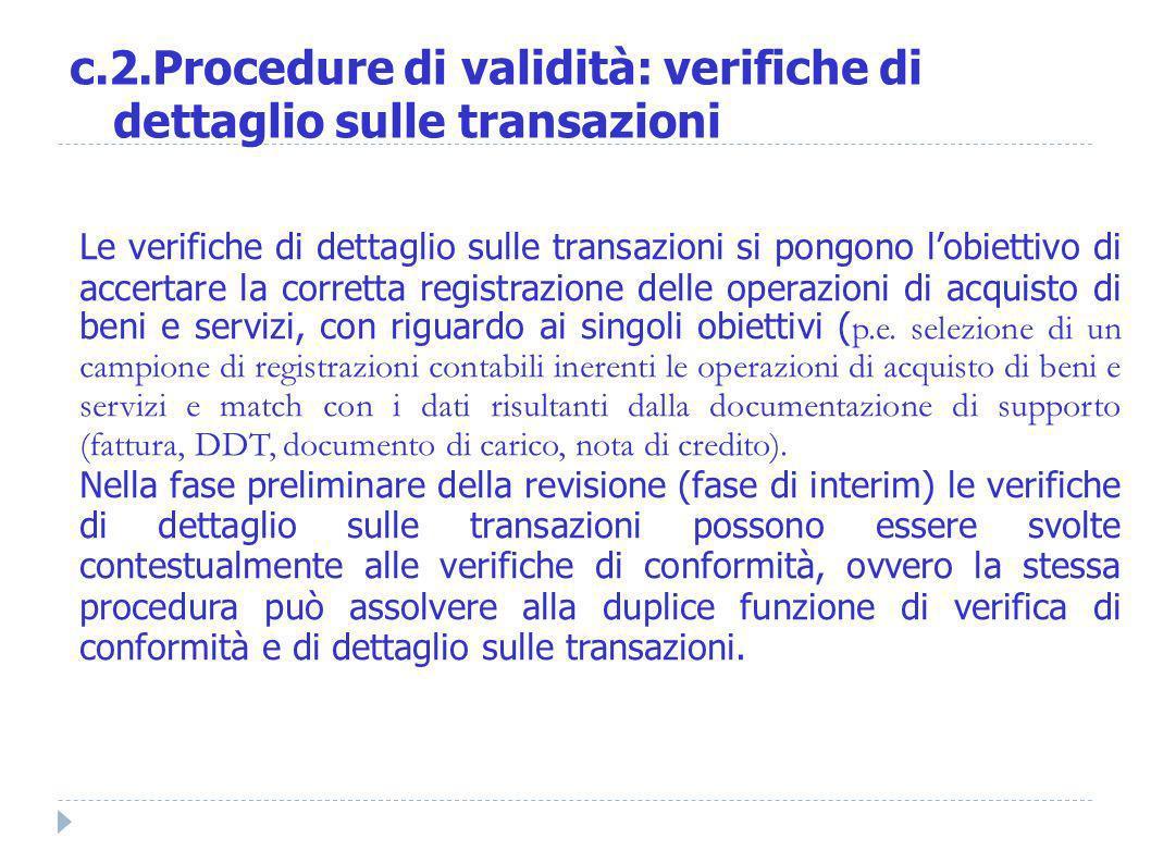 Le verifiche di dettaglio sulle transazioni si pongono lobiettivo di accertare la corretta registrazione delle operazioni di acquisto di beni e serviz