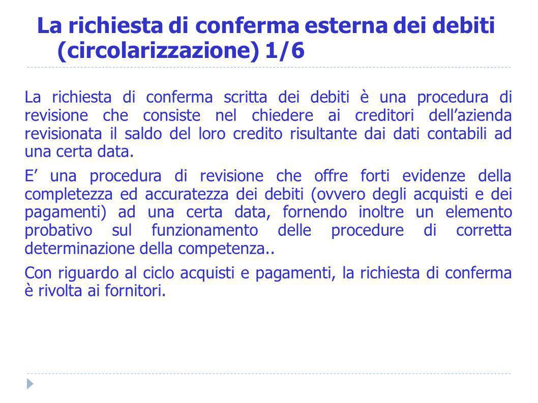 La richiesta di conferma scritta dei debiti è una procedura di revisione che consiste nel chiedere ai creditori dellazienda revisionata il saldo del l