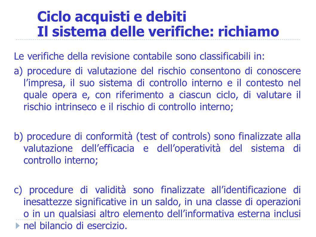 Ciclo acquisti e debiti Il sistema delle verifiche: richiamo Le verifiche della revisione contabile sono classificabili in: a) procedure di valutazion