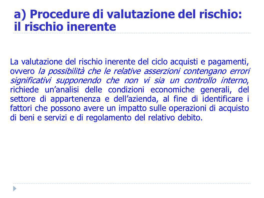 a) Procedure di valutazione del rischio: il rischio inerente La valutazione del rischio inerente del ciclo acquisti e pagamenti, ovvero la possibilità
