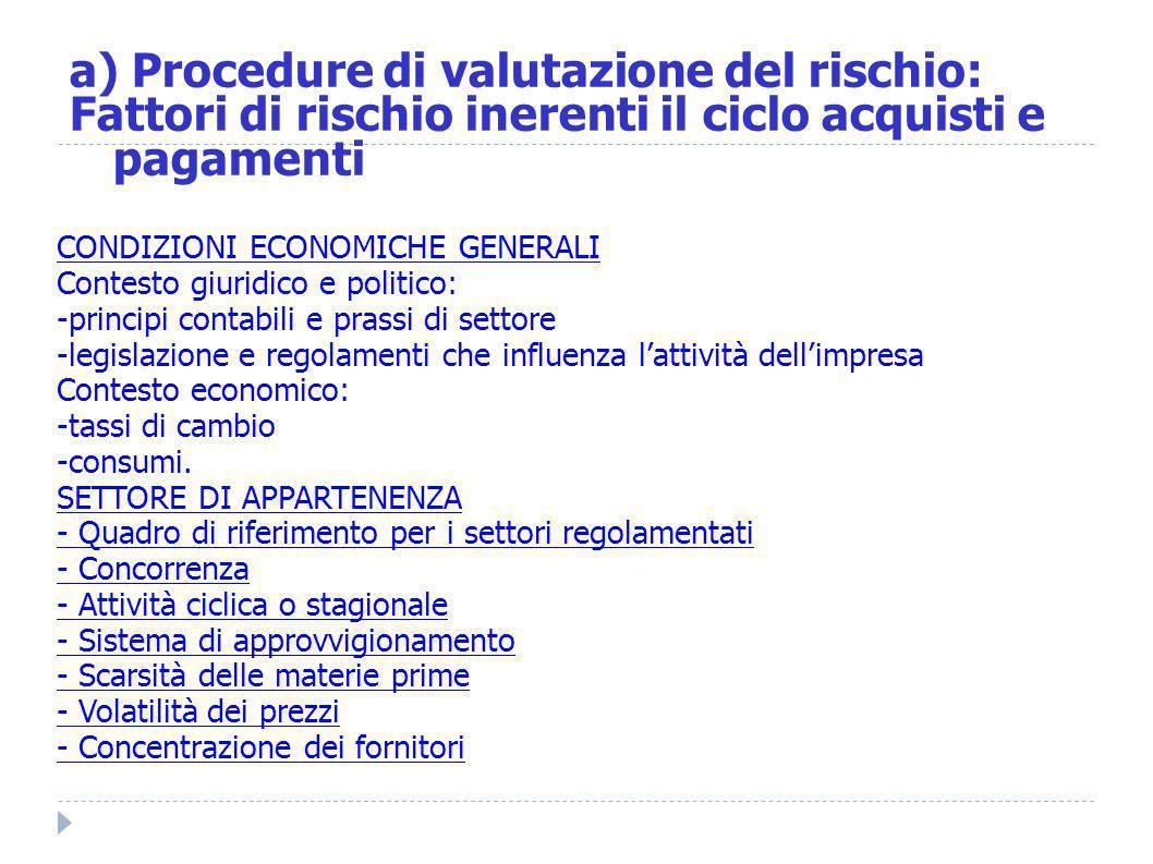 a) Procedure di valutazione del rischio: Fattori di rischio inerenti il ciclo acquisti e pagamenti CONDIZIONI ECONOMICHE GENERALI Contesto giuridico e
