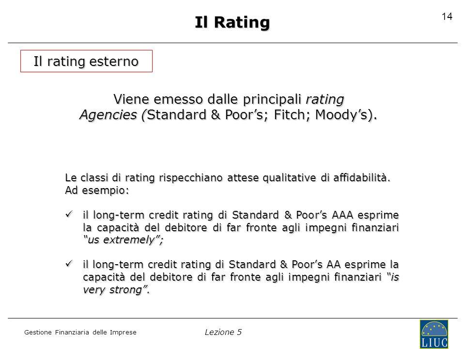 Lezione 5 Gestione Finanziaria delle Imprese 14 Il rating esterno Viene emesso dalle principali rating Agencies (Standard & Poors; Fitch; Moodys). Le