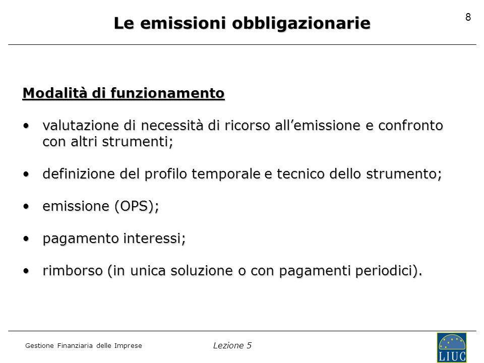 Lezione 5 Gestione Finanziaria delle Imprese 8 Svantaggi fattore temporale rigidità Modalità di funzionamento valutazione di necessità di ricorso alle