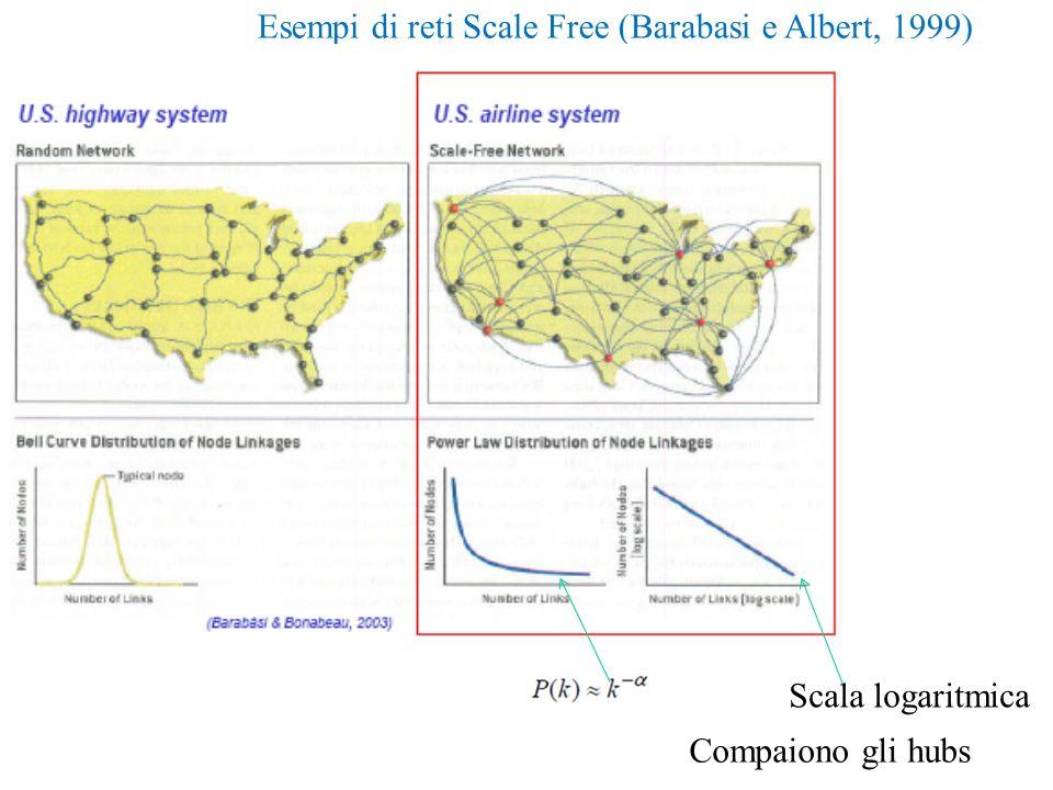 Esempi di reti Scale Free (Barabasi e Albert, 1999) Scala logaritmica Compaiono gli hubs