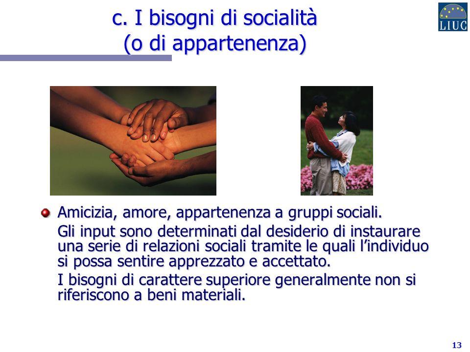 13 c.I bisogni di socialità (o di appartenenza) Amicizia, amore, appartenenza a gruppi sociali.