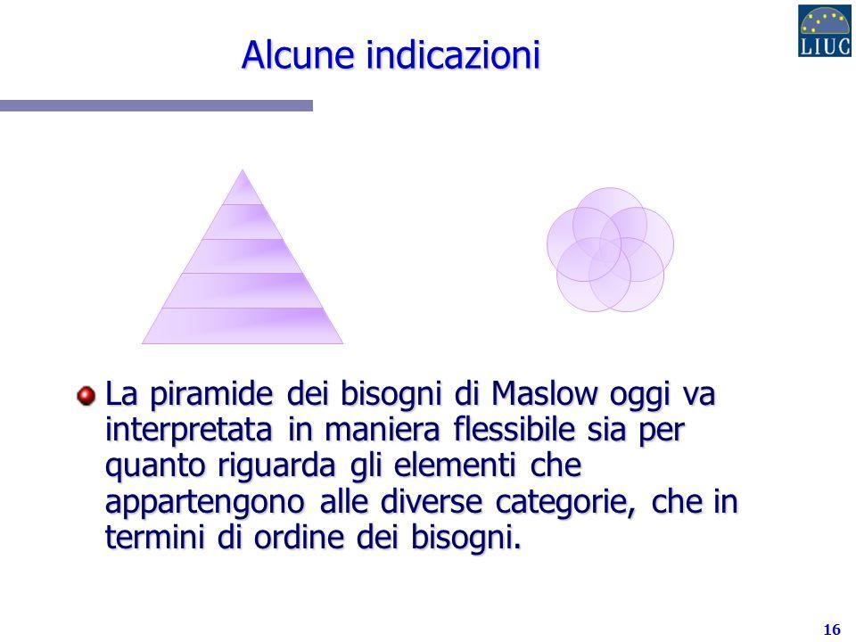 16 Alcune indicazioni La piramide dei bisogni di Maslow oggi va interpretata in maniera flessibile sia per quanto riguarda gli elementi che appartengono alle diverse categorie, che in termini di ordine dei bisogni.