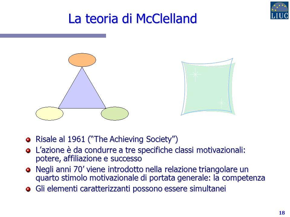 18 La teoria di McClelland Risale al 1961 (The Achieving Society) Lazione è da condurre a tre specifiche classi motivazionali: potere, affiliazione e successo Negli anni 70 viene introdotto nella relazione triangolare un quarto stimolo motivazionale di portata generale: la competenza Gli elementi caratterizzanti possono essere simultanei