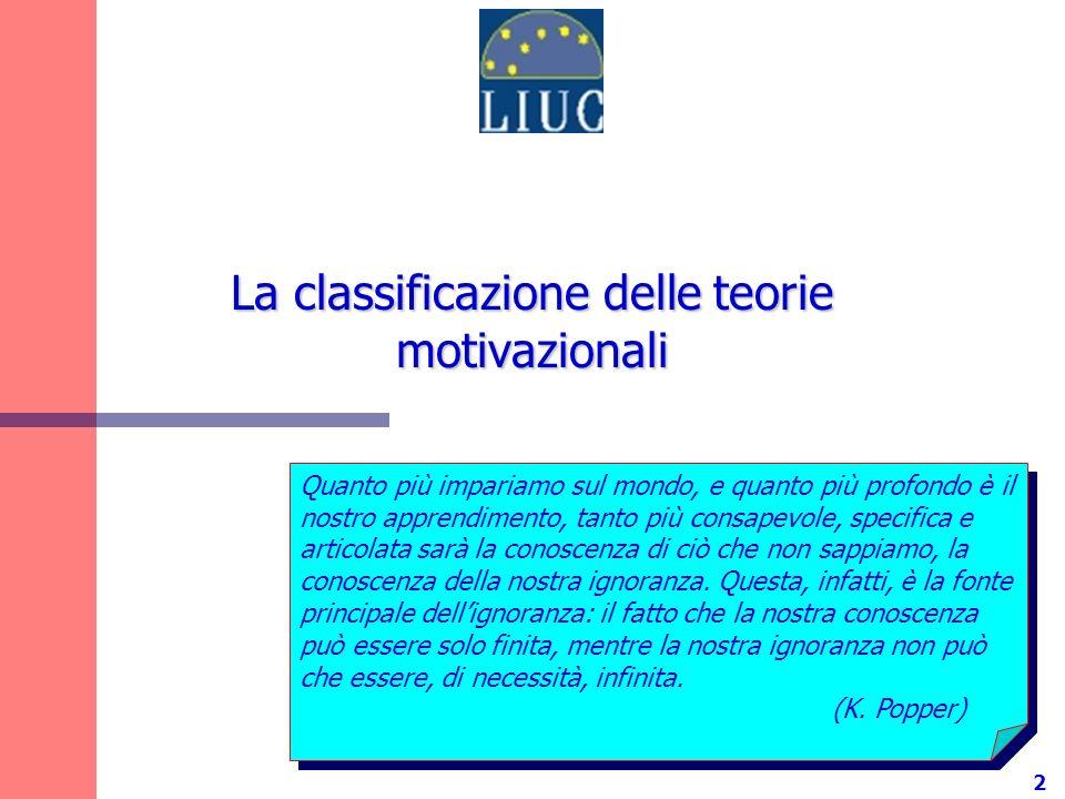 3 Tre famiglie di teorie motivazionali Teorie di contenuto Cosa motiva lindividuo.