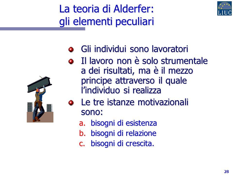 28 La teoria di Alderfer: gli elementi peculiari Gli individui sono lavoratori Il lavoro non è solo strumentale a dei risultati, ma è il mezzo principe attraverso il quale lindividuo si realizza Le tre istanze motivazionali sono: a.bisogni di esistenza b.bisogni di relazione c.bisogni di crescita.