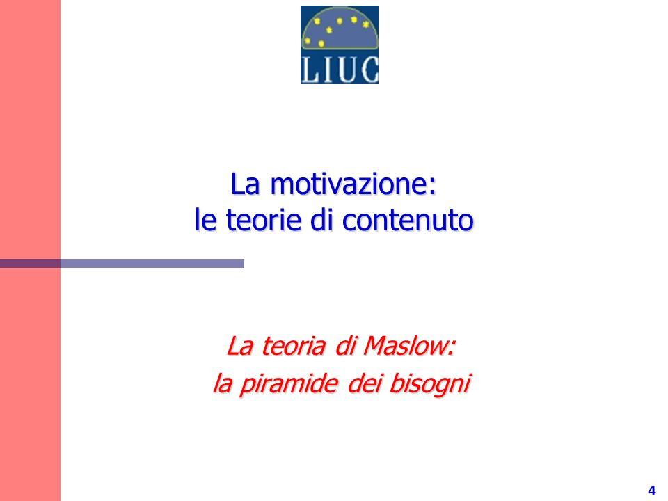 4 La motivazione: le teorie di contenuto La teoria di Maslow: la piramide dei bisogni