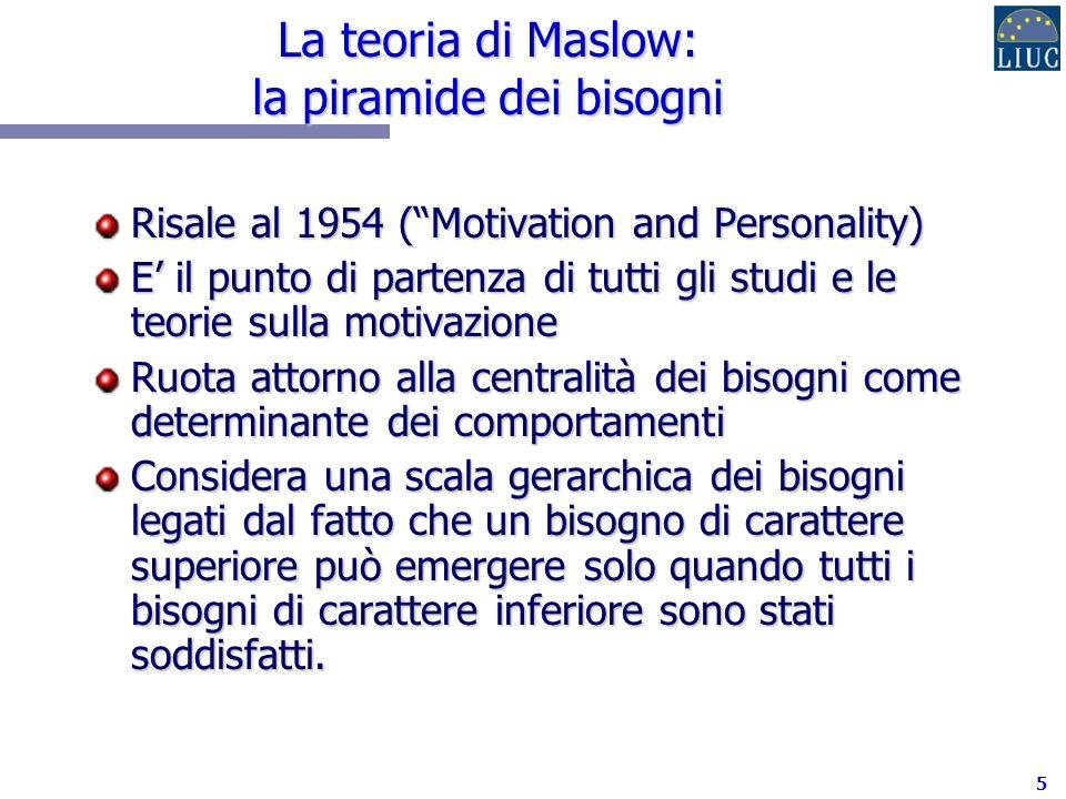 6 La piramide dei bisogni (Maslow): tre spunti di riflessione (1/3) 1.Lindividuo è motivato nella sua interezza e non in determinate parti di sé.