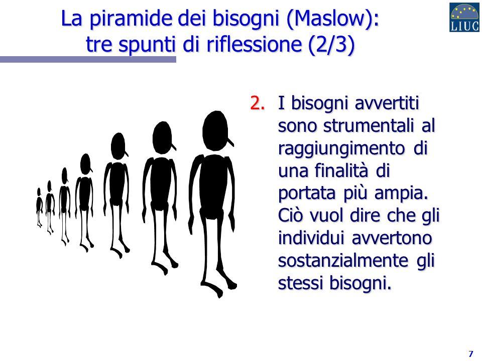 7 La piramide dei bisogni (Maslow): tre spunti di riflessione (2/3) 2.I bisogni avvertiti sono strumentali al raggiungimento di una finalità di portata più ampia.