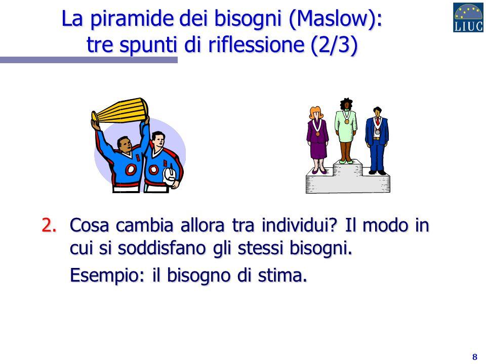 8 La piramide dei bisogni (Maslow): tre spunti di riflessione (2/3) 2.Cosa cambia allora tra individui.