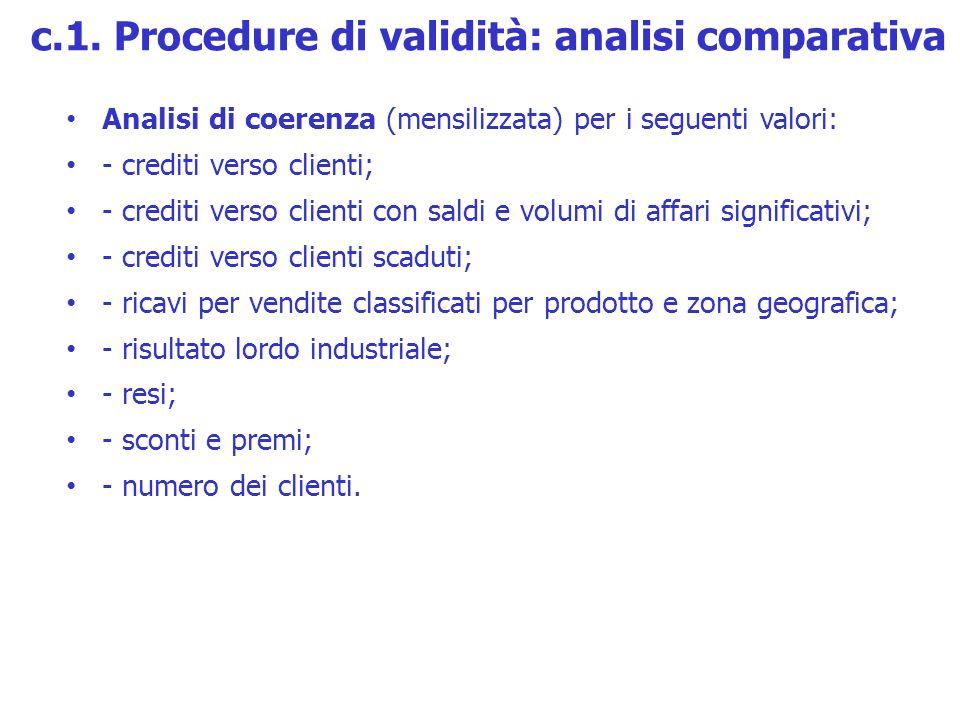 Analisi di coerenza (mensilizzata) per i seguenti valori: - crediti verso clienti; - crediti verso clienti con saldi e volumi di affari significativi;