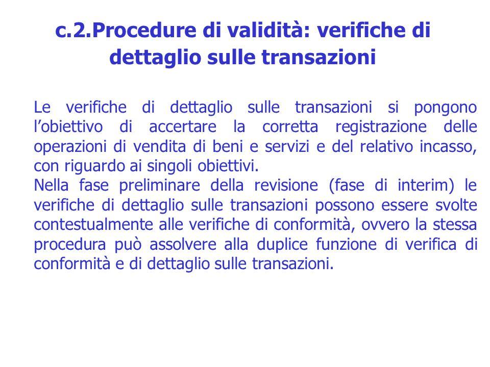 Le verifiche di dettaglio sulle transazioni si pongono lobiettivo di accertare la corretta registrazione delle operazioni di vendita di beni e servizi