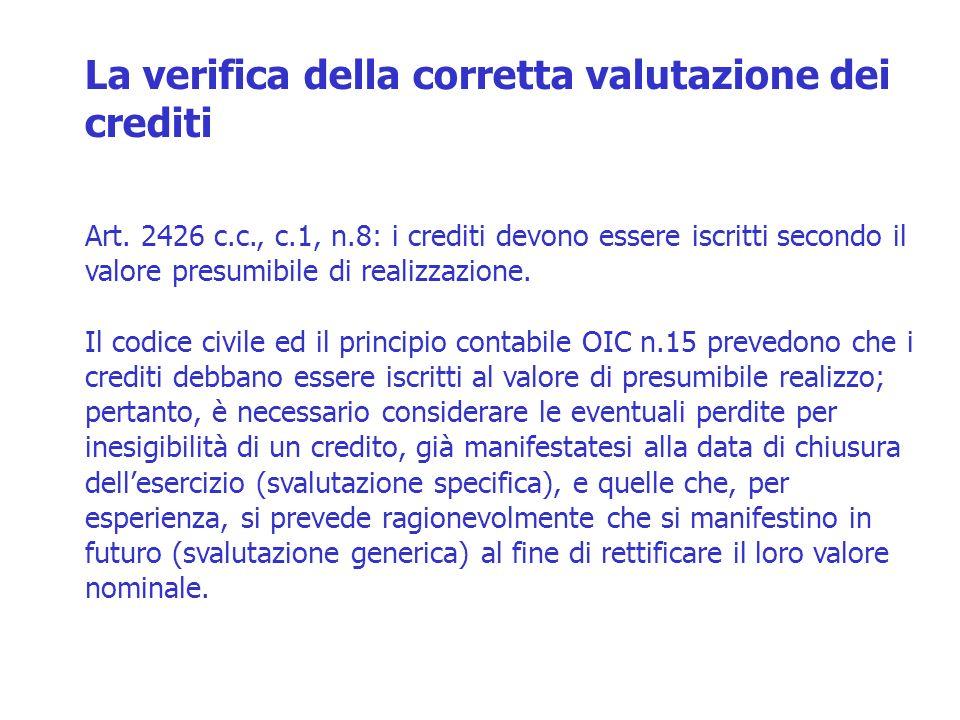 Art. 2426 c.c., c.1, n.8: i crediti devono essere iscritti secondo il valore presumibile di realizzazione. Il codice civile ed il principio contabile