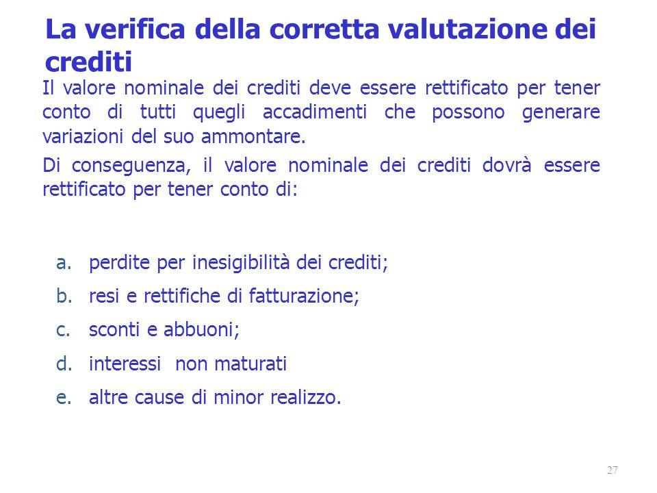 27 Il valore nominale dei crediti deve essere rettificato per tener conto di tutti quegli accadimenti che possono generare variazioni del suo ammontar