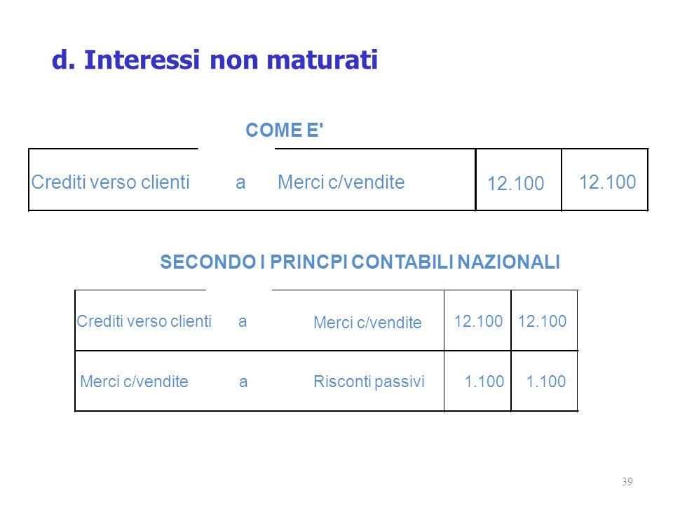 39 Crediti verso clientiaMerci c/vendite 12.100 COME E' Crediti verso clientia Merci c/vendite 12.100 Merci c/venditeaRisconti passivi1.100 SECONDO I