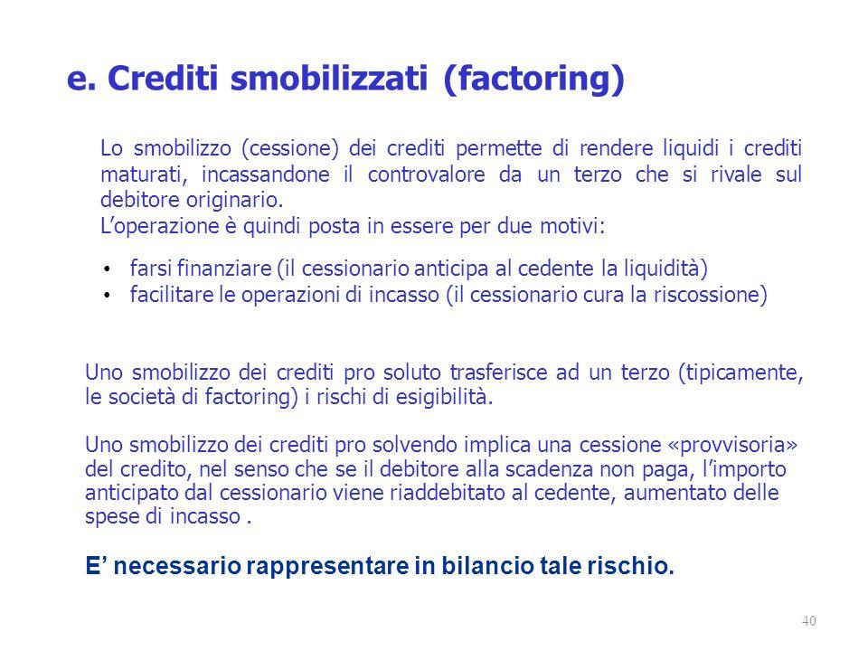 40 e. Crediti smobilizzati (factoring) Lo smobilizzo (cessione) dei crediti permette di rendere liquidi i crediti maturati, incassandone il controvalo