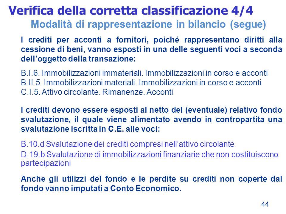 44 Modalità di rappresentazione in bilancio (segue) I crediti per acconti a fornitori, poiché rappresentano diritti alla cessione di beni, vanno espos