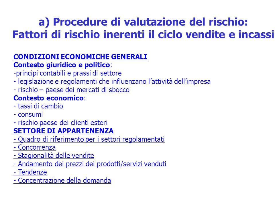 a) Procedure di valutazione del rischio: Fattori di rischio inerenti il ciclo vendite e incassi CONDIZIONI ECONOMICHE GENERALI Contesto giuridico e po