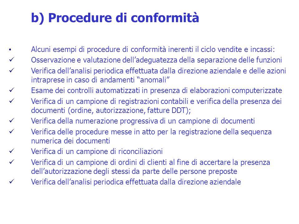 Alcuni esempi di procedure di conformità inerenti il ciclo vendite e incassi: Osservazione e valutazione delladeguatezza della separazione delle funzi
