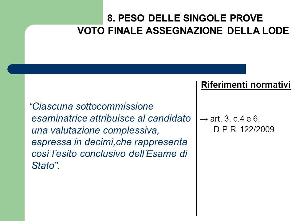 Ciascuna sottocommissione esaminatrice attribuisce al candidato una valutazione complessiva, espressa in decimi,che rappresenta così lesito conclusivo