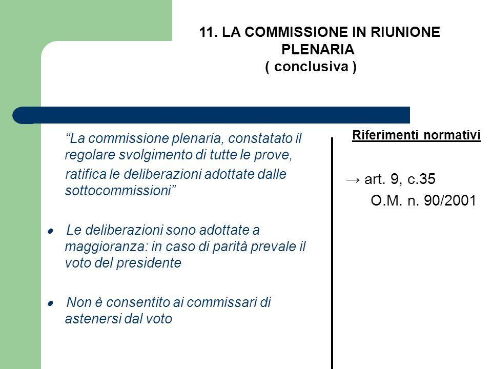 La commissione plenaria, constatato il regolare svolgimento di tutte le prove, ratifica le deliberazioni adottate dalle sottocommissioni Le deliberazi