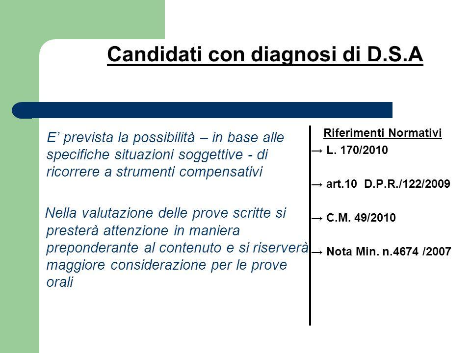 Candidati con diagnosi di D.S.A E prevista la possibilità – in base alle specifiche situazioni soggettive - di ricorrere a strumenti compensativi Nell