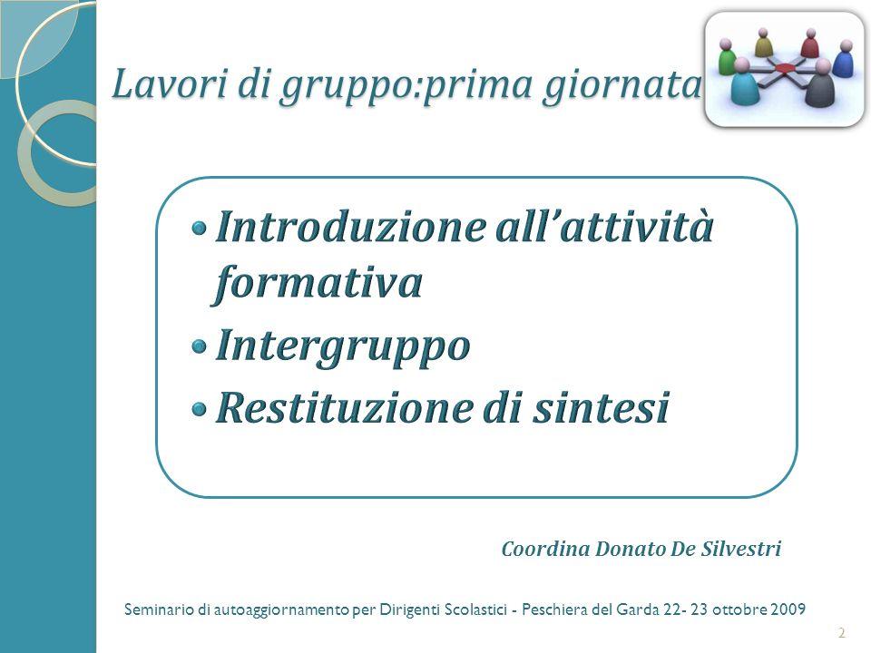 Lavori di gruppo:prima giornata 2 Seminario di autoaggiornamento per Dirigenti Scolastici - Peschiera del Garda 22- 23 ottobre 2009 Coordina Donato De Silvestri