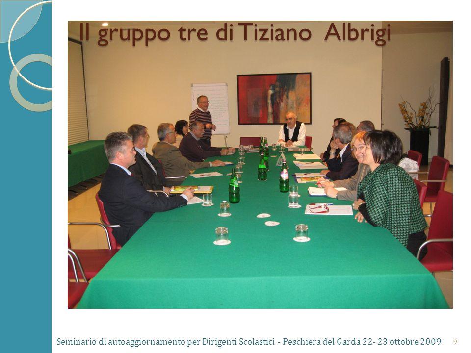 Seminario di autoaggiornamento per Dirigenti Scolastici - Peschiera del Garda 22- 23 ottobre 2009 9 Il gruppo tre di Tiziano Albrigi